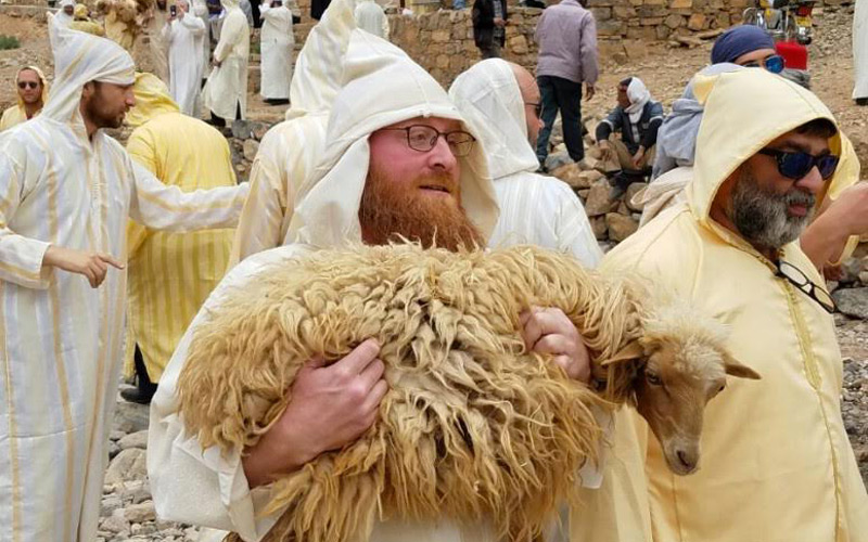 Jews From New York Wearing Local Djellabas In A Village In